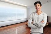 Young casual man at modern apartment — Foto de Stock