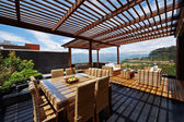 Interior design: Beautiful terrace loung with pergola — Stock Photo