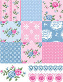 Patchwork Vector Floral Rose Patterns and trims. — ストックベクタ