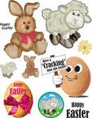 Cute Easter Bunny and Lamb Vectors. — Stock Vector