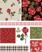 1940s Vector Seamless Rose Patterns and Icons. — Stock Vector