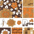 1970's Retro Vector Seamless Floral Patterns and Icons. — Stock Vector