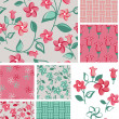 1930s Inspired Floral Vector Patterns and Icons. — Stock Vector