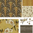 1930's Art Deco Inspired Floral Seamless Vector Patterns. — Stockvektor