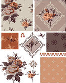 1940s Vector Seamless Floral Patterns and Icons. — Stock Vector