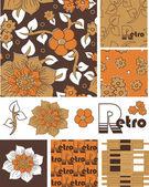 1970 retro wektor bezszwowe kwiatowe wzory i ikony. — Wektor stockowy