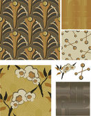 1930's Art Deco Inspired Floral Seamless Vector Patterns. — Stockvector