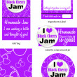 Black Cherry Jam Vector Labels — Stock Vector