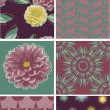 Dahlia Flower Floral Vector Seamless Patterns. — Stock Vector