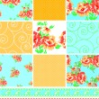 Country style floral patchwork seamless patterns and trims. — Stock Vector