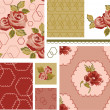 Country Rose Vector Seamless Patterns and Icons. — Stock Vector