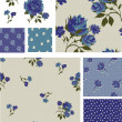 Pretty Blue Rose Floral Seamless Patterns and Icons. — Stock Vector #20456435