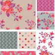 Delicate Pink Vector Rose Seamless Patterns and Elements. — Stock Vector #20456625