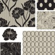 Classic Peony Floral Vector Seamless Patterns. - Vettoriali Stock