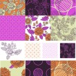 Contemporary Floral Vector Seamless Patterns. — Stock Vector