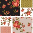 Pretty Vector Rose Seamless Patterns and Elements. — Stock Vector