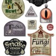 Fun Halloween Spoof Labels Set 4 — Stock Vector