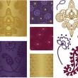 Indian Style Vector Seamless Patterns and Icons. - Stok Vektör