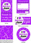 Black Cherry Jam Vector Labels — Stock Vector