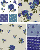 Pretty Blue Rose Floral Seamless Patterns and Icons. — Stock Vector