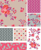 Delicate Pink Vector Rose Seamless Patterns and Elements. — Stock Vector