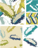 Vector Feather Seamless Patterns and Icons. — Stock Vector