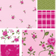 Delicate Vector Rose Flower Seamless Patterns and Elements. — Stock Vector #20460255