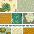 Floral Vector Seamless Patterns and trim. — Stock Vector #20460495