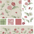 Meadow Flower Vector Seamless Patterns and Icons. — Stock Vector