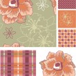 Stock Vector: Muted Seamless Vector Floral Patterns and Icon.