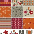 Modern Orange Floral Vector Seamless Patterns and Icons. — Stock Vector