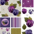 Mother's Day Pansy Flower Seamless Patterns and Icons. — Stock Vector