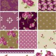 Pretty Floral Rose Seamless Vector Patchwork Patterns and Elemen — Stock Vector #20462501