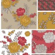 Retro Style Vector Rose Floral Patterns and Elements. — Stock Vector
