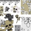 Stock Vector: Floral Rose Skull Vector Seamless Patterns and Icons.