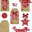 Cute Gingham Vector Christmas Gift Tags. — Stock Vector #20464245