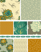 Floral Vector Seamless Patterns and trim. — Stock Vector