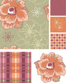 Muted Seamless Vector Floral Patterns and Icon. — Stock Vector