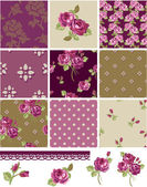 Pretty Floral Rose Seamless Vector Patchwork Patterns and Elemen — Stock Vector