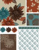 Floral Vector Seamless Patterns and elements. — Stock Vector