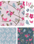 Spring Bird Floral Vector Seamless Patterns and Icons. — Stock Vector