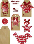 Cute Gingham Vector Christmas Gift Tags. — Stock Vector