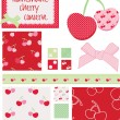Cherry Vector Seamless Patterns and Elements. — Stock Vector