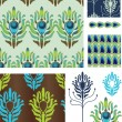 Art Deco Style Peacock Vector Seamless Patterns and Icons. - Stock Vector