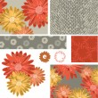 Autumn Floral Vector Seamless Patterns and Icons. — Stock Vector