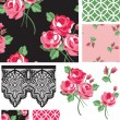 Black and Pink Rose Vector Seamless Patterns and Icons. — Stock Vector
