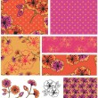 Bollywood 2 Floral Vector Seamless Patterns. — Stock Vector #22008313