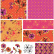 Bollywood 2 Floral Vector Seamless Patterns. — Stock Vector