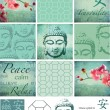 Thai Buddha inspired grunge vector patchwork pieces and elements — Stock Vector