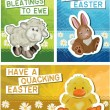 Stock Vector: Set of 3 Easter Greeting Cards.